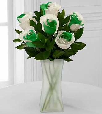 Lucky Today Rainbow Rose Bouquet - 6 Stems - VASE INCLUDED