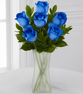 Extreme Blue Hues Fiesta Rose Bouquet - 6 Stems - VASE INCLUDED