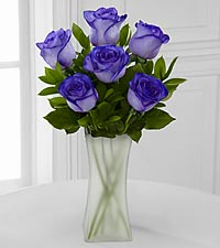 Popping Purple Fiesta Rose Bouquet - 6 Stems - VASE INCLUDED