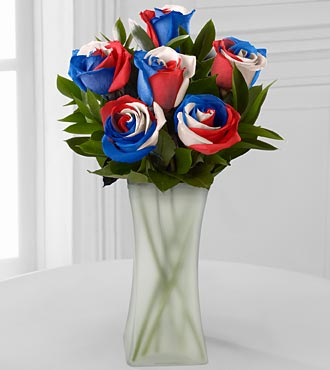 Bless the U.S.A. Fiesta Rose Bouquet - 6 Stems - VASE INCLUDED