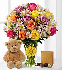 Happy Birthday Smiles 'Singing' Bouquet with Bear & Godiva&reg; Chocolates -26 Stems - VASE INCLUDED