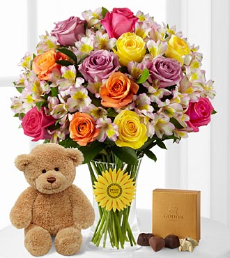 Happy Birthday Smiles 'Singing' Bouquet with Bear & Godiva® Chocolates -26 Stems - VASE INCLUDED