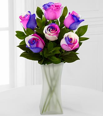Loving Wishes Fiesta Rose Bouquet - 6 Stems - VASE INCLUDED