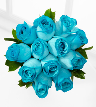 The Floral Gemstone Aquamarine Rose Bouquet - 12 Stems, No Vase