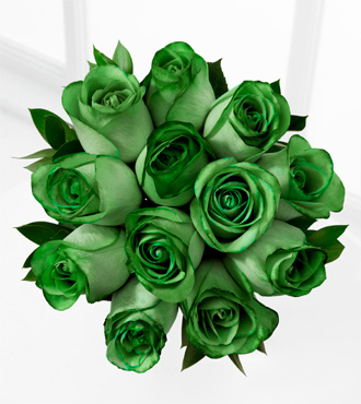 The Floral Gemstone Emerald Rose Bouquet - 12 Stems, No Vase
