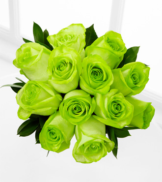 The Floral Gemstone Green Grandeur Peridot Rose Bouquet - 12 Stems, No Vase