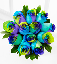 The Floral Gemstone Alluring Hues Opal Rose Bouquet - 12 Stems, No Vase