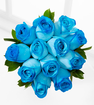 The Floral Gemstone Blue Brilliance Topaz Rose Bouquet - 12 Stems, No Vase