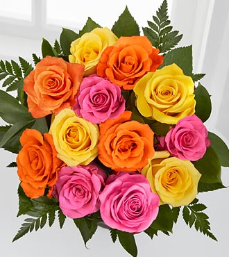 Bright Blush Rose Bouquet - 12 Stems of 16-inch Roses - No Vase