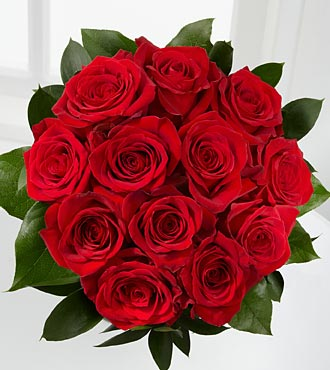 The Floral Gemstone Red Garnet Rose Bouquet - 12 Stems, No Vase