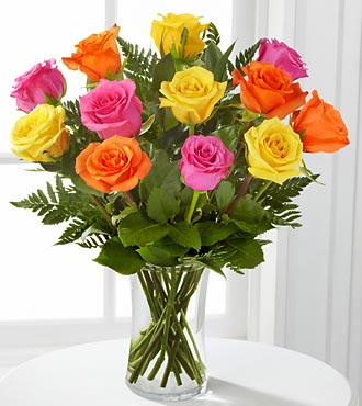 Bright Blush Rose Flowers - 12 Stems of 16-inch Roses - VASE INCLUDED