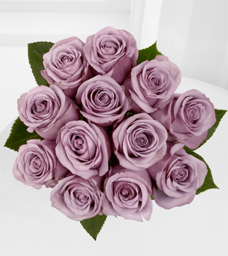 The Floral Gemstone Amethyst Rose Bouquet - 12 Stems, No Vase