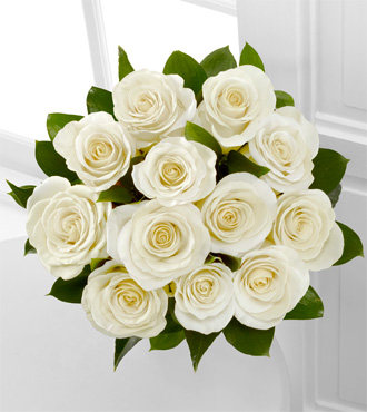 The Floral Gemstone White Topaz Rose Bouquet - 12 Stems, No Vase