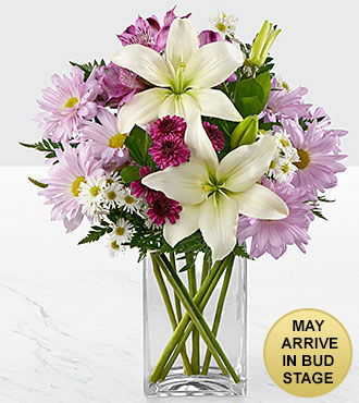 Lavender Fields Mixed Flower Bouquet - 8 Stems - VASE INCLUDED