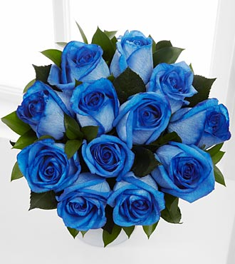 The Floral Gemstone Blue Moon Sapphire Rose Bouquet - 12 Stems, No Vase