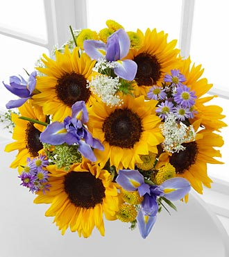 Meant to Shine Sunflower & Iris Bouquet - 15 Stems, No Vase
