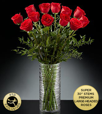 The FTD&reg; Rose&trade; Bouquet - 12-Stems of 30-inch Red Roses - VASE INCLUDED