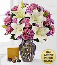 Lavender Twilight Mixed Flower Bouquet with Godiva ® Chocolates - VASE INCLUDED