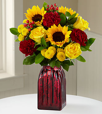 Harvest Celebrations Mixed Fall Flower Flowers - 13 Stems - Vase Included