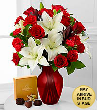 Hearts in Harmony Valentine's Day Bouquet with Godiva ® Chocolate & RED VASE INCLUDED