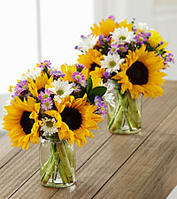Sunflower Fields Petite Bouquet Duo - 2 Petite Jars Included