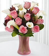 Fabled Beauty Bouquet - 17 Stems - PINK VASE INCLUDED