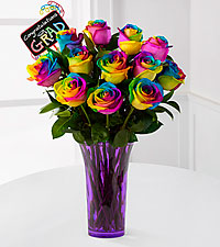 Way to Go Graduate Rainbow Rose Bouquet - 12 Stems - VASE INCLUDED