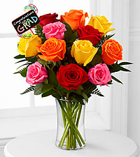 Great Day Graduation Bouquet - 12 Stems - VASE INCLUDED