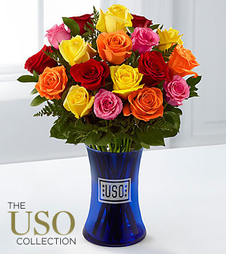 America the Beautiful Rose Bouquet - 18 Stems - VASE INCLUDED