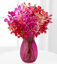 Tickled Pink Orchid Bouquet - PINK VASE INCLUDED