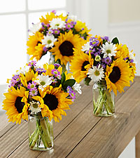 Sunflower Fields Petite Bouquet Trio - 3 Petite Jars Included