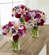 Pretty in Pink and Purple Petite Bouquet Trio - 3 Petite Jars Included