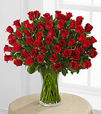 Fifty Red Roses of Romance - VASE INCLUDED
