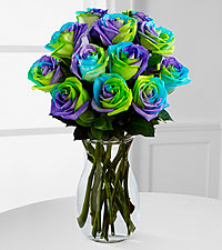 Pinwheel Party Rainbow Roses - VASE INCLUDED