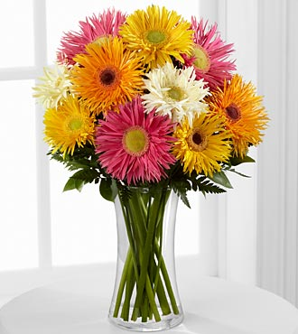 Flowering Confetti Daisy Flowers - 10 Stems - Vase Included