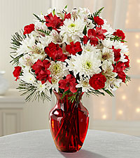 Joy to the World Holiday Bouquet -RED VASE INCLUDED