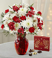 Joy to the World Holiday Bouquet with Godiva ® Chocolates - VASE INCLUDED