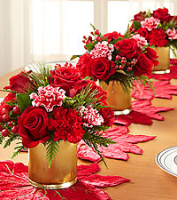Christmas Blessings Holiday Bouquet Trio - 33 Stems Total - 3 VASES INCLUDED