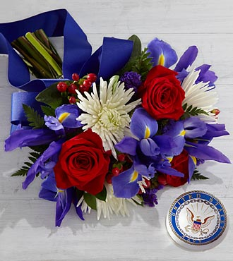 Tribute to the United States Navy Bouquet with Keepsake Paperweight - 16 Stems, No Vase