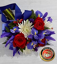 Tribute to the United States Marine Corps Bouquet with Keepsake Paperweight - 16 Stems, No Vase