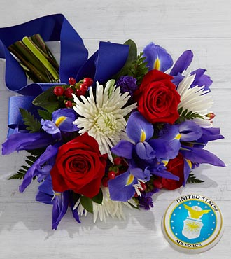 Tribute to the United States Air Force Bouquet with Keepsake Paperweight - 16 Stems, No Vase