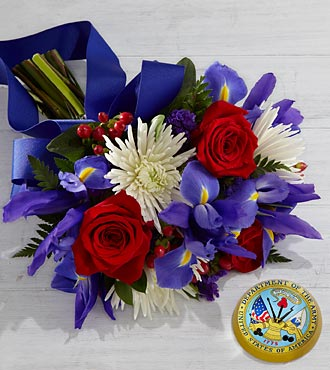 Tribute to the United States Army Bouquet with Keepsake Paperweight - 16 Stems, No Vase