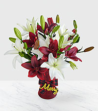 Holiday Lilies with Merry Plaid Vase