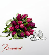 Wings of Love Tulip Bouquet with Baccarat ® Crystal Loving Doves