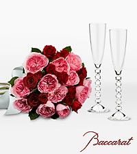 Love's Celebration Bouquet with Baccarat ® Crystal Champagne Glasses