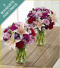 Pretty in Pink and Purple Bouquets - JARS INCLUDED