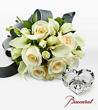 Ivory Elegance Bouquet with Baccarat&reg; Crystal Heart Paperweight