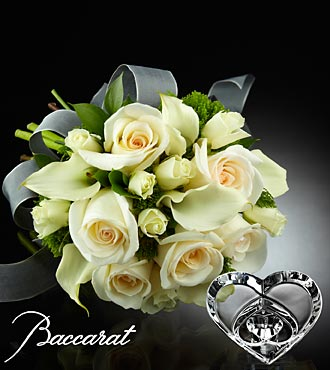 Ivory Elegance Bouquet with Baccarat® Crystal Heart Paperweight