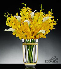 Sunlit Sophistication Luxury Orchid & Calla Lily Bouquet in Rogaska Crystal Tera Vase