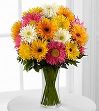 Flowering Confetti Daisy Bouquet - VASE INCLUDED